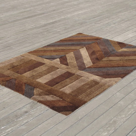 AIRCONDITIONED - PATCHED WOODEN FLOOR RUG BROWN
