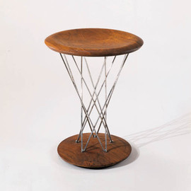 SAMU NOGUCHI FOR KNOLL - A WALNUT AND CHROMED STEEL ROCKING STOOL
