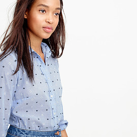 J.CREW - PERFECT SHIRT IN EMBROIDERED DOT