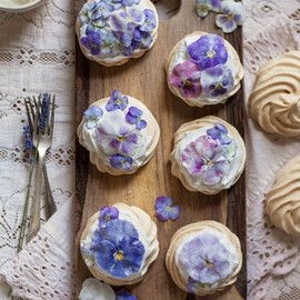 Candied Pansy & Viola Mini Pavlovas