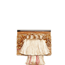 PROENZA SCHOULER - SS2014 Colorblocked Tapestry With Suede Chrome Bar Clutch