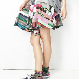 ANREALAGE - WIDE & SHORT  PATCHWORK PRINT SKIRT