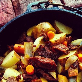 camp food - Traditional #camp food. #Dutchoven #steak and #potatoes #food