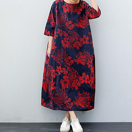 holiday Dresses - dark blue round collar long Cotton and linen long Dresses with pockets summer holiday Dresses