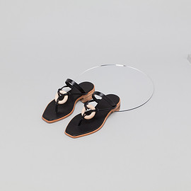 _Fot - wood ring sandals BLACK