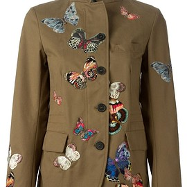 VALENTINO - Green cotton stitched butterfly jacket