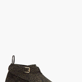 SAINT LAURENT - Black & Gold Cropped Jodhpur Boots