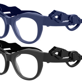 GIVENCHY - acrylic/perspex spectacle frames adorned with a panther on each side in a gorgeous dark blue