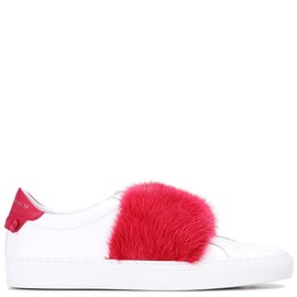 GIVENCHY - Fur-trimmed leather sneakers