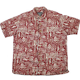 Eddie Bauer - Vintage 90s Eddie Bauer Linen Hawaiian Shirt in Red Mens Size Large