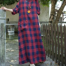 linen Kaftan dress - Loose long dress, oversized dress, linen dress in red plaid, maxi linen dress, linen Kaftan dress