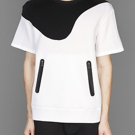Neil Barrett - BI-COLOUR DOUBLE FACE SHORT SLEEVED SWEATSHIRT WITH TWO ZIP POCKETS