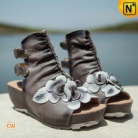 cwmalls - Leather Ankle Boot Sandals CW305226 - cwmalls.com