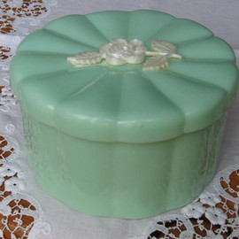 Antique - Mint Green Powder Jar