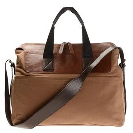 DRIES VAN NOTEN  - canvas and leather messenger bag