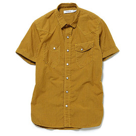 nonnative - RANCHER SHIRT SS - COTTON GINGHAM CHECK OVER DYED