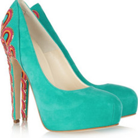 BRIAN ATWOOD - Claudia embroidered suede pumps
