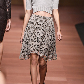 Carven - Carven Guipure Lace Skirt in Gray (dusty lime)