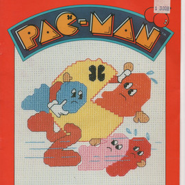 1980s vintage counted cross stitch pattern Pac Man book 1 Millcraft 6 designs