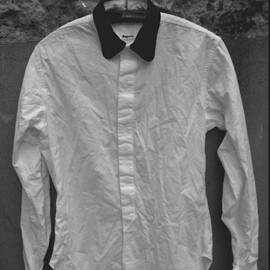 benjamin - ram leather coller white shirts