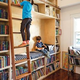 closet into a mini library/kids room