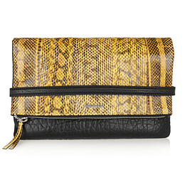 McQ, Alexander McQueen - Phlox textured-leather and elaphe clutch