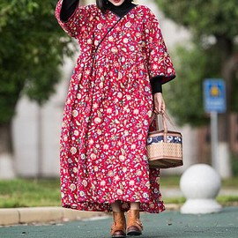 Winter coat robe - Red floral dress, Cotton Long Maxi dress, Winter Dresses, Winter coat robe