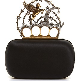 Alexander McQueen - FW2016 Flying-unicorn satin knuckle clutch