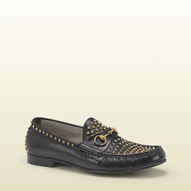 Gucci - Black Leather Loafer With Gold Studs