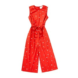 bando. - red tank jumpsuit with white daisy pattern all over