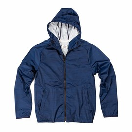 REIGNING CHAMP - REIGNING CHAMP HEATHER PRINT HOODED JACKET - NAVY