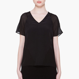 T BY ALEXANDER WANG - Black Silk Combo T-Shirt