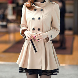 Elegant Sweet Lace Spliced Double Breast Slim Trench Coat