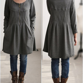 shirt - fall pleated knee length Bottoming shirt