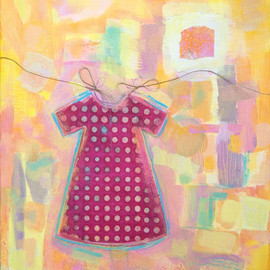 Frédérique Game - Dress paper on canvas, original creation, painting and collage art by the artist Frederique Game