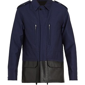 BERLUTI - Contrast leather panel cotton-blend jacket