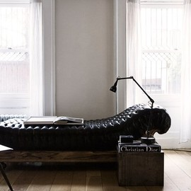 Button Tufted Leather Day Bed
