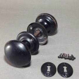 "アメリカンハウス - ""Black"" Steel Doorknob w/ Backplate&Key Hole"