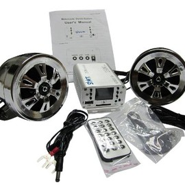 Shark - Shark SHKMSDHRS6160 250w Motorcycle snowmobile 2 speakers + FM splash proof remote sd aux huge lcd display CHROME