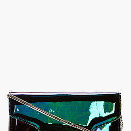 PROENZA SCHOULER - Black Iridescent Oil Slick Leather PS11 Chain Clutch