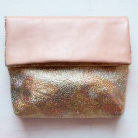 RESERVED For Shiona. Gold Metallic Clutch. Floral Silk Clutch. Leather Envelope Clutch