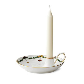 Royal Copenhagen - Star Fluted Christmas candle holder with handle 17,5 cm