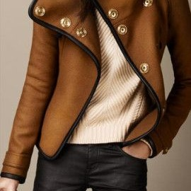 Burberry - Brown Leather Trim Blanket Wrap Jacket