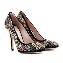 miu miu - CRYSTAL-EMBELLISHED SUEDE PUMPS