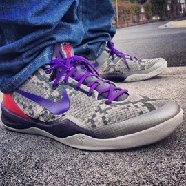 Nike - NIKE KOBE 8 SYSTEM MIDNIGHT GREY/BLACK-COURT PURPLE-UNIVERSITY RED