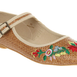 embroidered raffia mary janes