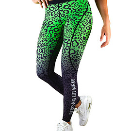 strong lift wear - FUSION COMPRESSION PANT - GREEN LEOPARD
