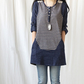 dress - Spring denim dress/ women tunic blouse long shirt dress