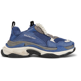 BALENCIAGA - Triple S Mesh, Suede and Leather Sneakers