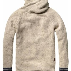 SCOTCH & SODA - NAPS YARN PULL WITH TWISTED HOOD AND CONTRASTING CUFFS